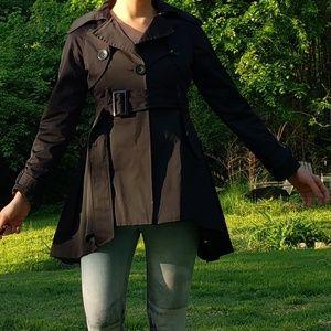 Updated black trench raincoat